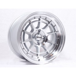 Chikara RS10 Wheels 15x8.5 4x100 +17 JDM Style Rims (Silver Machined, Set of 4)