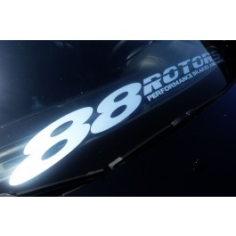88 Rotors Windshield Banner Decal Sticker 30 Inches (Brushed Aluminum)
