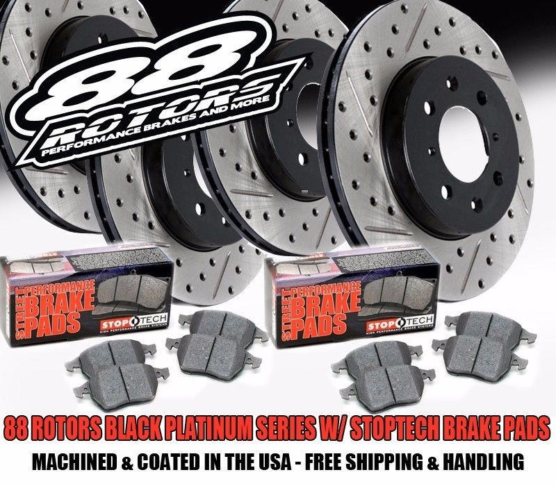 2003-2005 Nissan 350Z Infiniti G35 Z33 Black Platinum Series Drilled Slotted Brake Kit w/Stoptech Pads (Front+Rear)