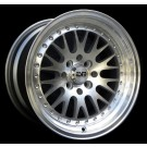 ESM 007 18x8.5 +20 18x9.5 +15 Offset 5x120/5x114.3 (Silver w/ Machined Lip, Staggered Set of 4)