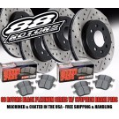 1989-1996 Nissan 240SX 4 Lug Non-ABS Black Platinum Series Drilled Slotted Brake Kit w/Stoptech Pads (Front+Rear)