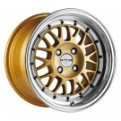Stance Mindset Rims 15x8 4x100 +25 Offset (Gold w/Polished Lip, Set of 4)